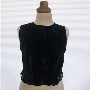 Zara evening top w/ velvet front & mesh/lace back
